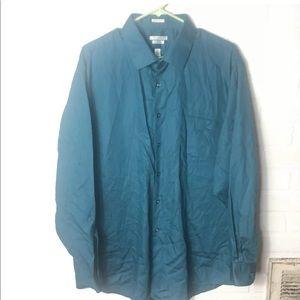 Van Heusen 18 35/35 teal blue button dress shirt